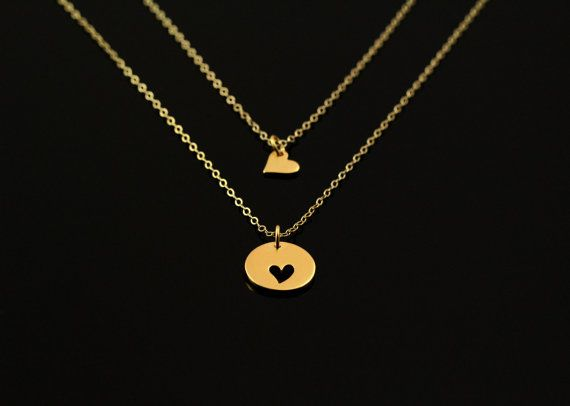 Items Similar To Gold Heart Necklace Matching Set Sister Jewelry Little Sorority Mother Daughter Gift For Christmas And Holiday On