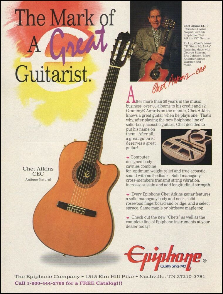 The Chet Atkins Cea Epiphone Acoustic Guitar Ad 8 X 11 Advertisement Print Epiphone In 2020 Epiphone Epiphone Acoustic Guitar Chet Atkins