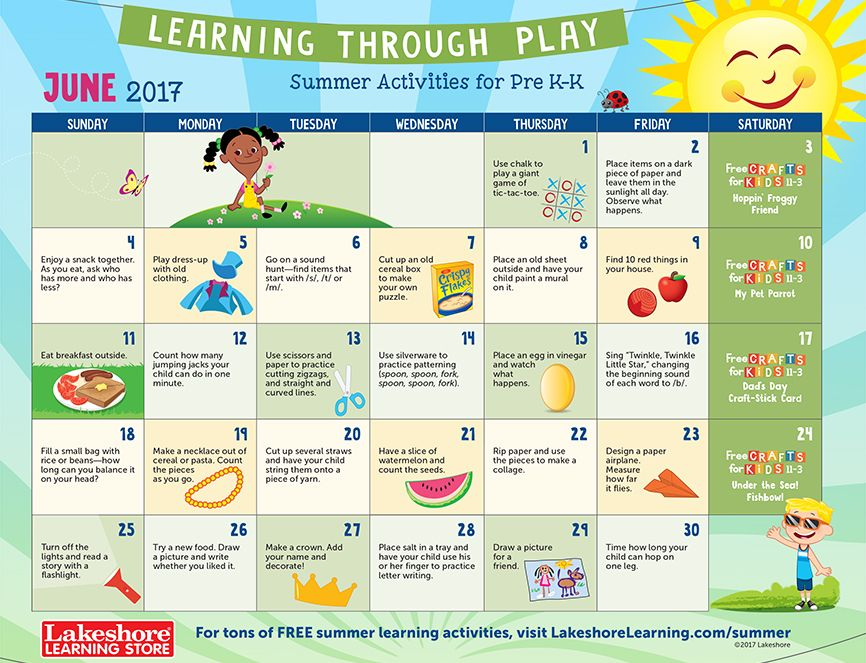 June 2017 Pre Ku2013Kindergarten activity calendar Summer Learning - activity calendar