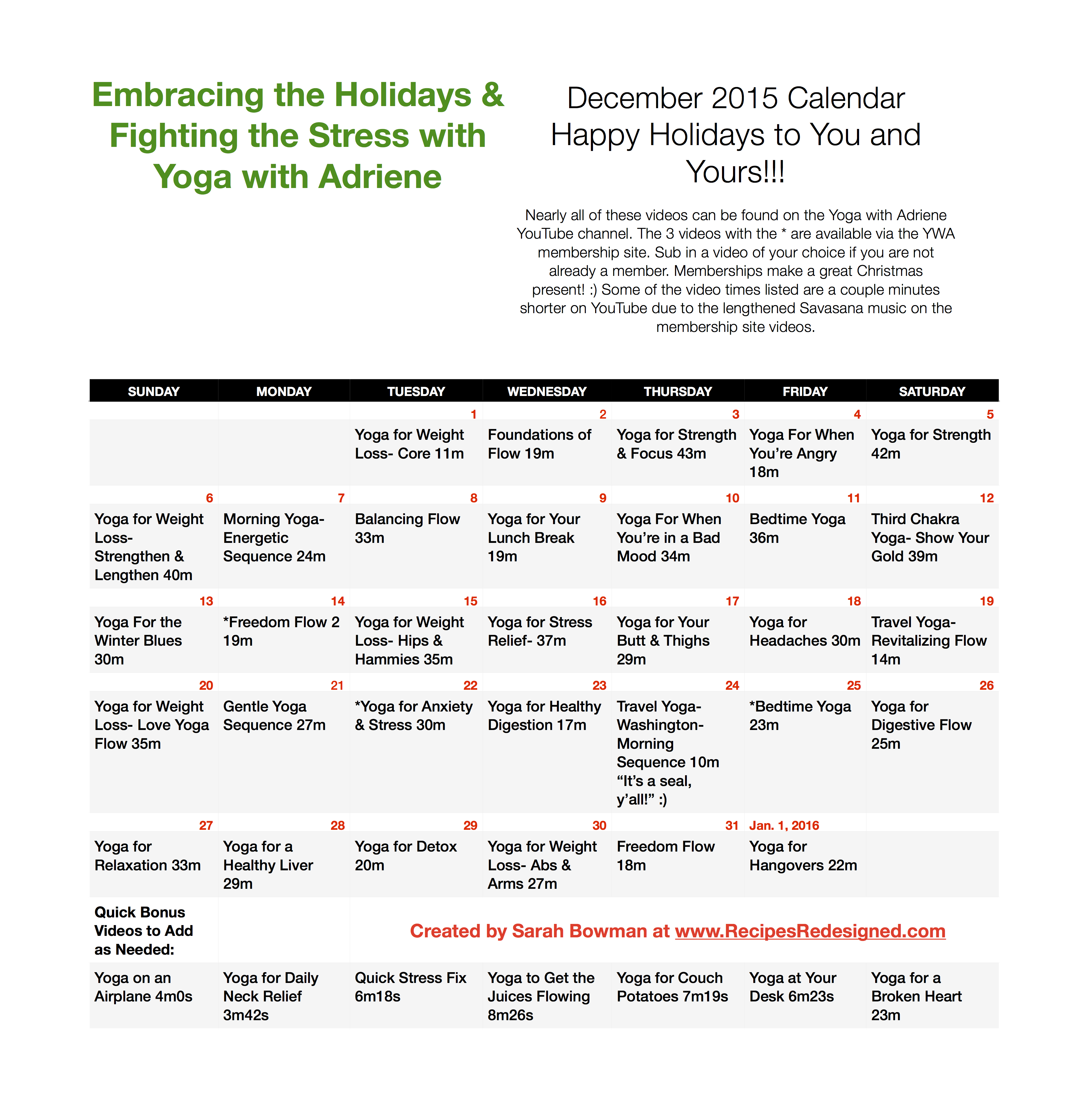 Yoga With Adriene December Calendar 2019 Embracing the Holidays & Fighting the Stress with Yoga with