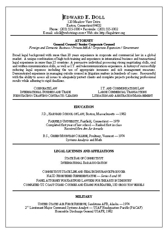 Corporate Lawyer Resume Sample - http\/\/jobresumesample\/1395 - lawyer resume samples