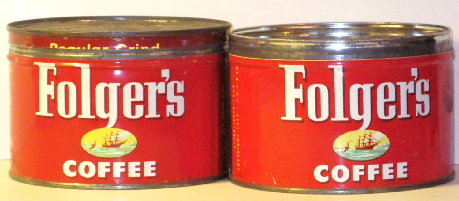 Folger S Coffee Cans With Lids 2 1 Lb Each Two For One Price 1952 By Riverripples On Etsy