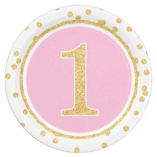 Pink Gold Faux Glitter Confetti 1st Birthday Paper Plate  sc 1 st  Pinterest & Pink Gold Faux Glitter Confetti 1st Birthday Paper Plate | Glitter ...