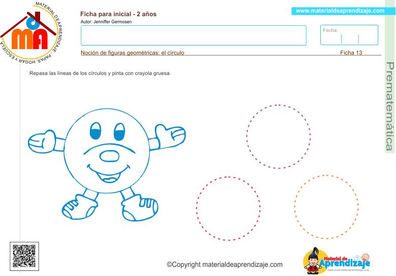 Repasa la líneas de los círculos y pinta con crayola gruesa.   Noción de figuras geométricas: el círculo  Haz clic en la imagen de arriba para descargar