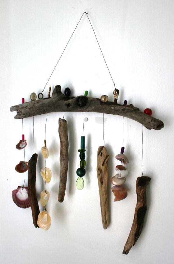 Funky Shell Bead Driftwood Windchime / by PeaceLoveDriftwood, $36.00