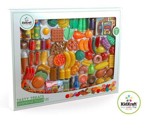 plastic food set | ... Tasty Treats 125 Piece Play Food Set | Kids Plastic Pretend Food Set