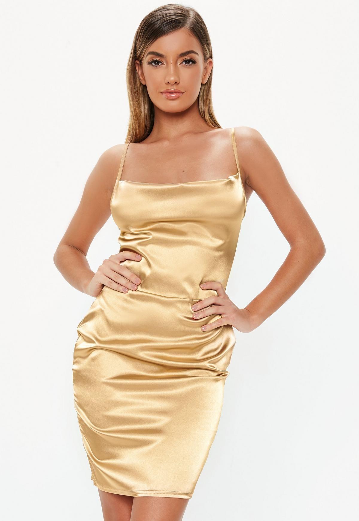 d369bca6a6 Tall Gold Satin Cowl Neck Mini Dress in 2019