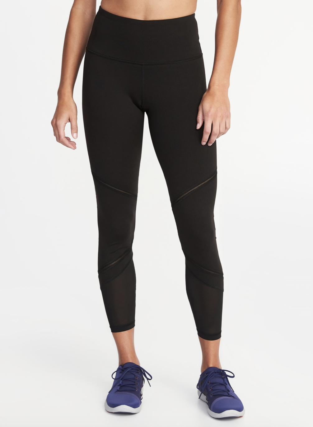f40d73fc00e3 Old Navy High-Rise 7/8-Length Mesh-Trim Compression Leggings for Women  (Black)