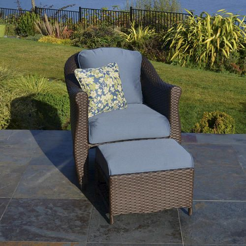 Outdoor Life · Wicker Chair With Hidden Ottoman ...