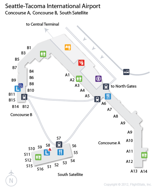 Seattle Map Airport.Sea Seattle Tacoma International Airport Terminal Map Airports