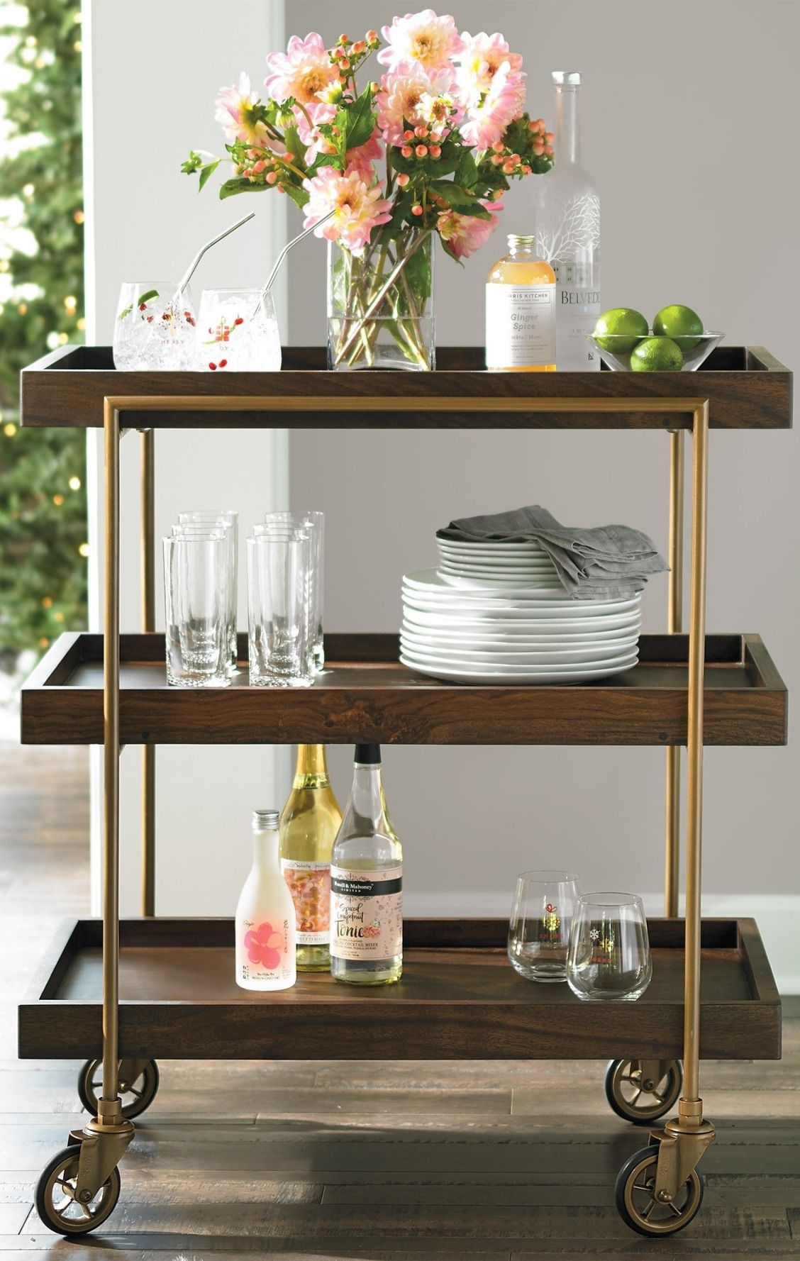 Catch this trolley: our Oak Park Bar Cart. It has three tray-style ...