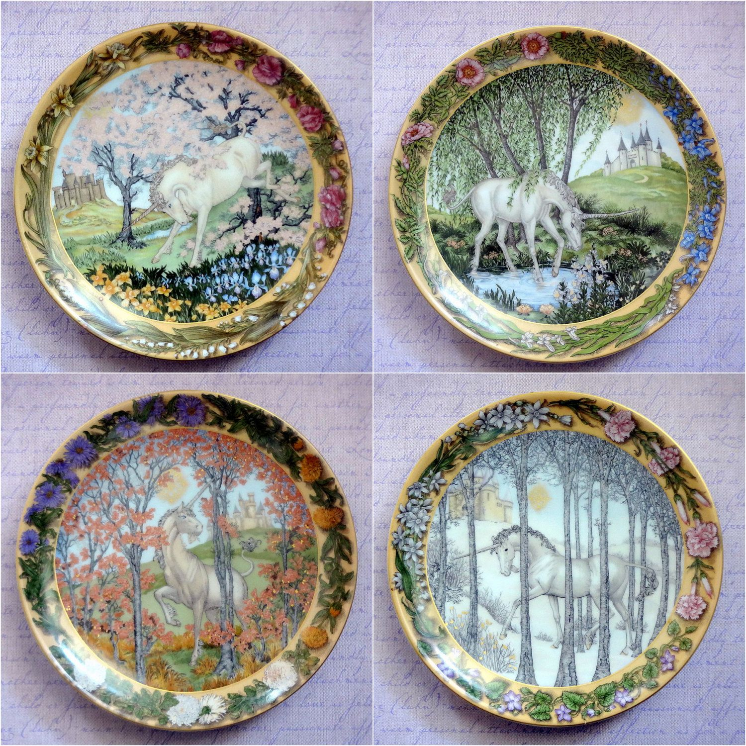 Vintage Hutschenreuther Plates - \ Enchanted Seasons of a Unicorn\  series from the Hutschenreuther company  sc 1 st  Pinterest & Vintage Hutschenreuther Plates - \