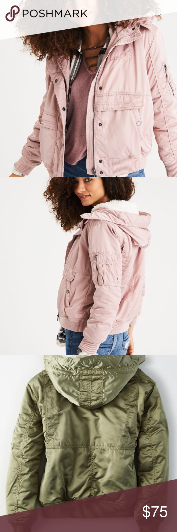 American Eagle Fleece Lined Hooded Bomber Jacket Hooded Bomber Jacket Bomber Coat Jackets For Women [ 1740 x 580 Pixel ]