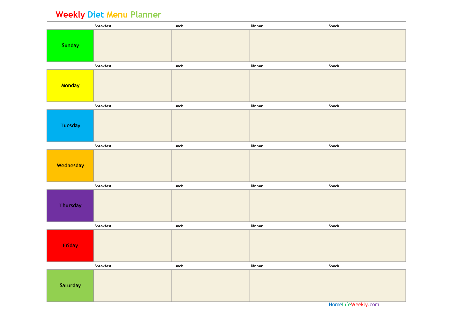 meal planning template Google Search Declutter Me – Diet Plan Template