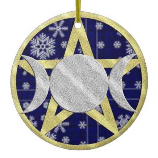 Pagan Yule Ornaments   Wiccan Yule Christmas Snowflake Pentagram ornament