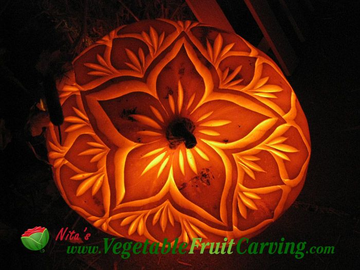 Floral pumpkin carving patterns | Pumpkin carving - pretty pumpkin ...
