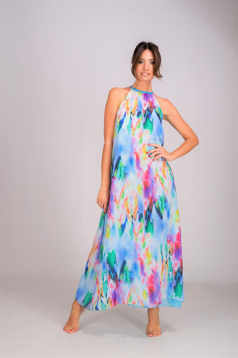 Tropical Wedding Guest Dress Halter Dress Sleeveless Dress Etsy Wedding Guest Dress Guest Dresses Italy Wedding Dress [ 1191 x 794 Pixel ]