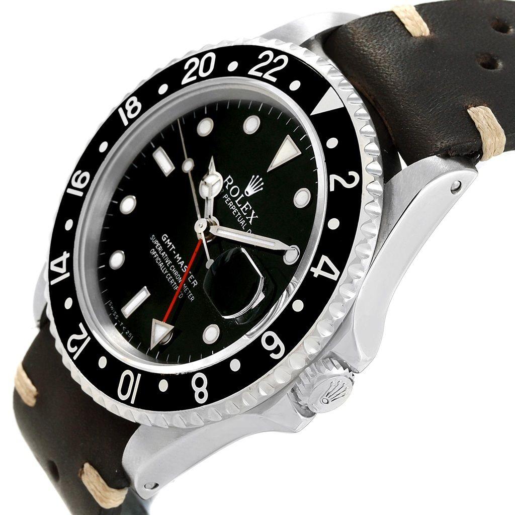 Rolex Gmt Master Black Bezel Leather Strap Steel Mens Watch 16700 Rolex Watches For Men Rolex Gmt