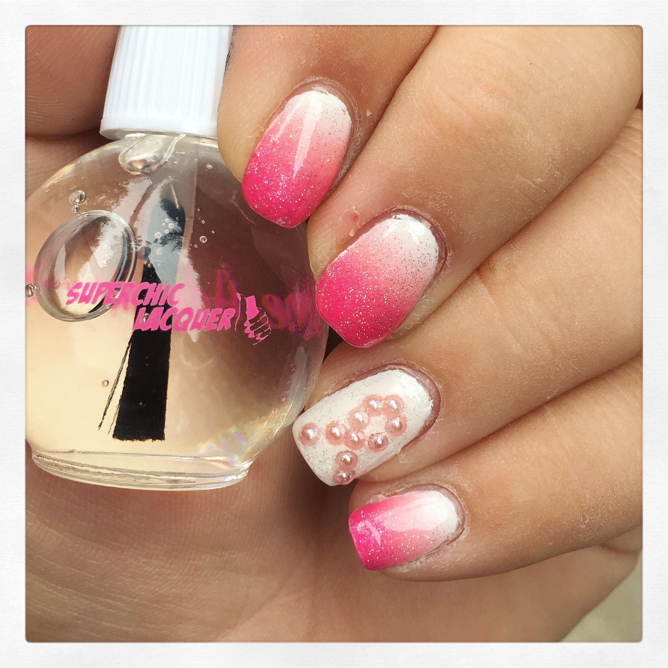Breast cancer awareness gradient nail art with pearls | Nail art I ...