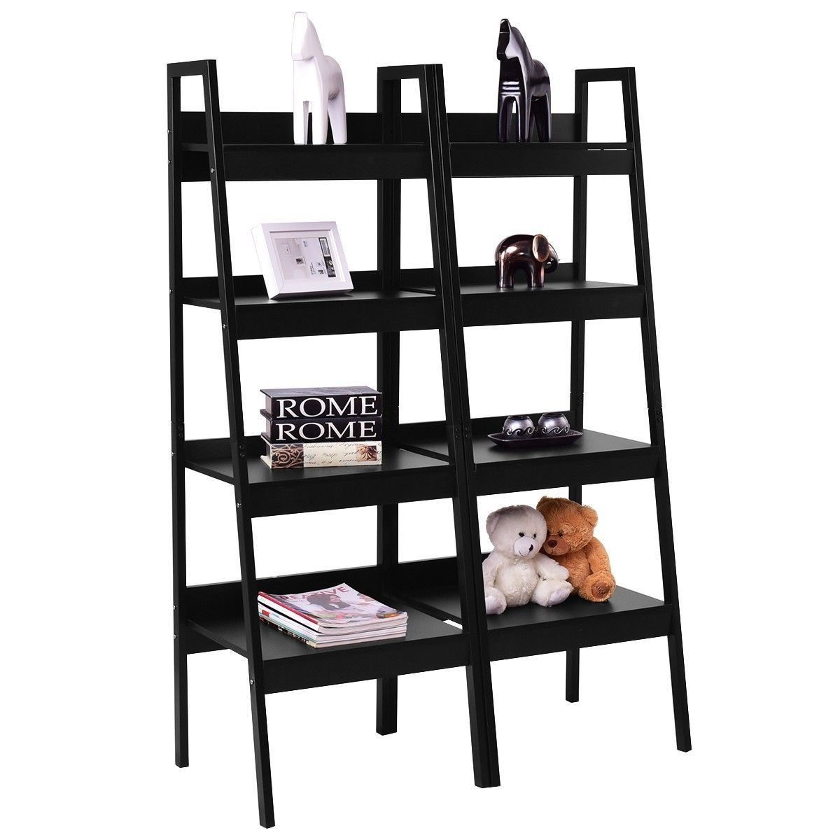 Set Of 2 Classic Black Ladder Style Display Shelf Shelves Media
