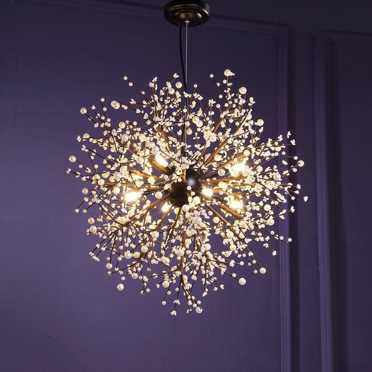 Gdns 8 Pcs Lights Chandeliers Firework Led Vintage Wrought Iron Chandelier Island Pendant Lighting Ceiling Light