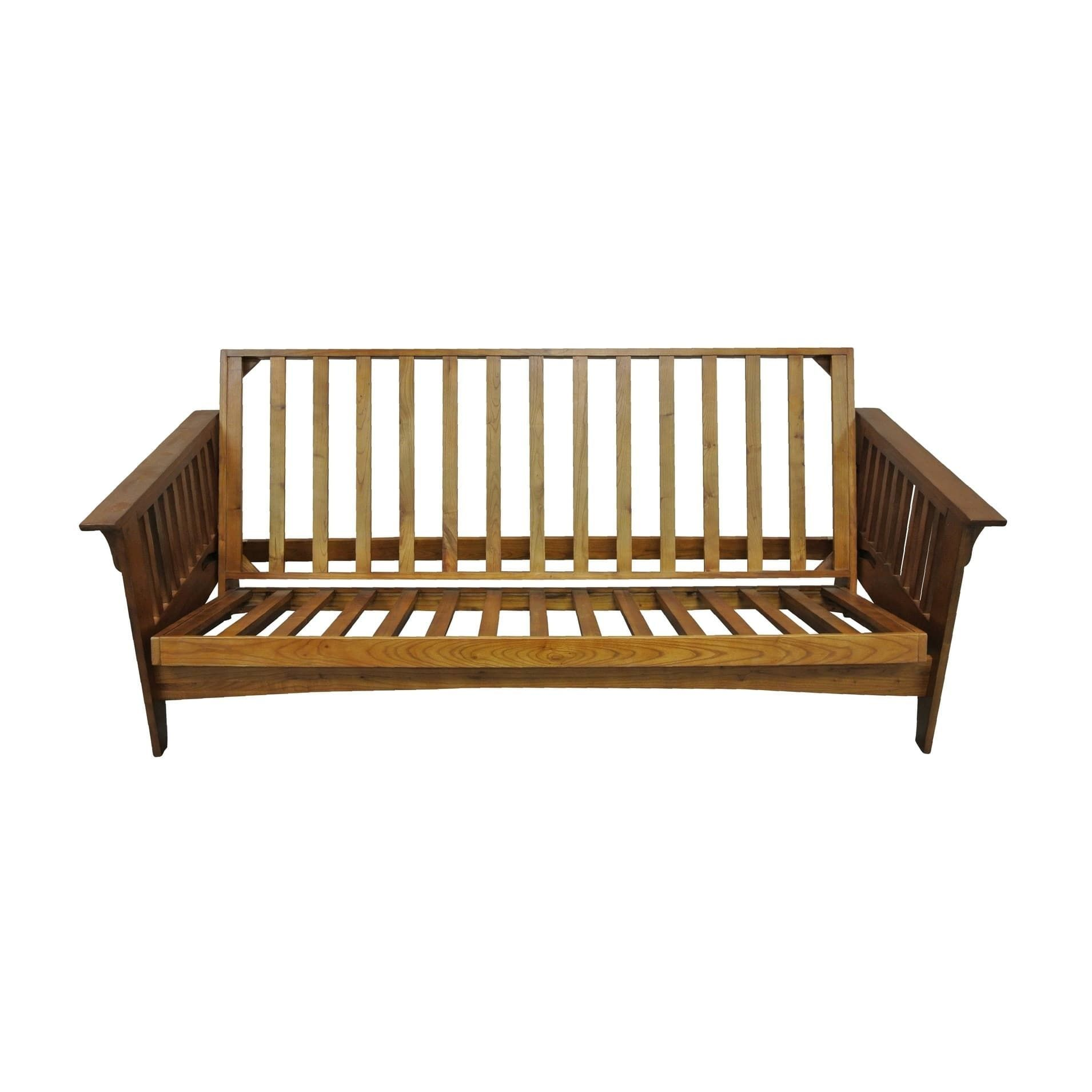 Boston Cherry Oak Wood Queen Futon Frame Brown