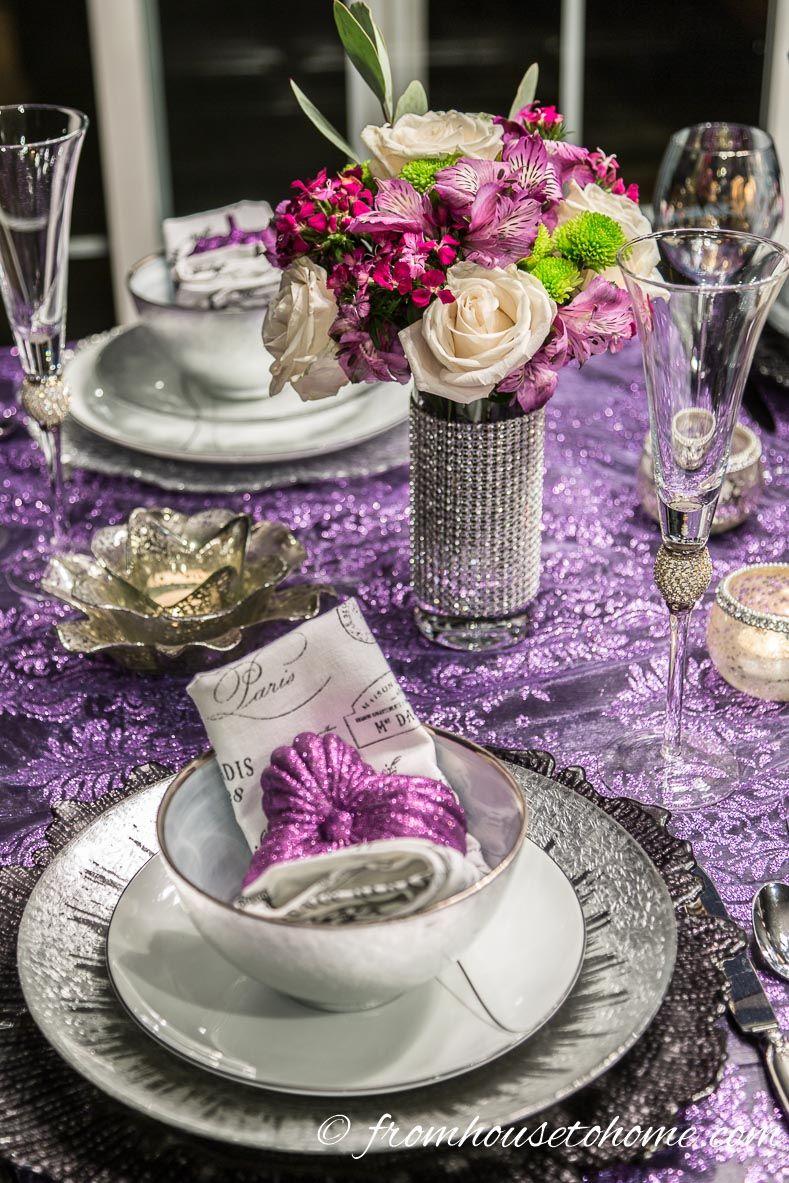 Elegant Purple And Silver Thanksgiving Tablescape Holiday Table Settings Thanksgiving Table Settings Thanksgiving Table Decorations