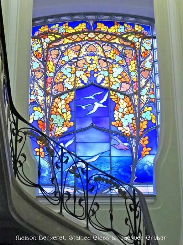 Maison Bergeret's gorgeous Art Nouveau Stained Glass by Jacques Gruber. http://skyscrapercity.com/