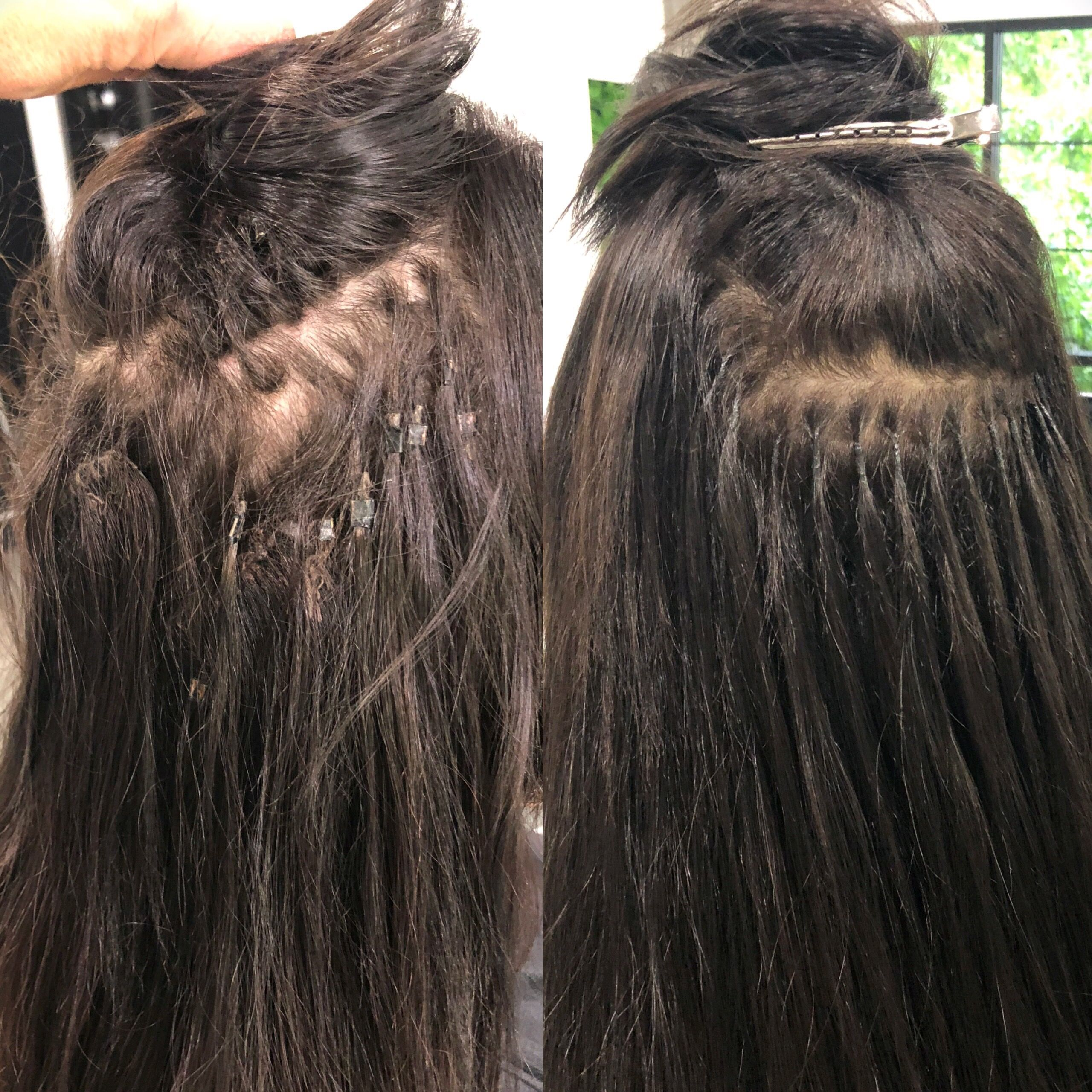 Before And After Micro Bead Extensions On Short Hair ...