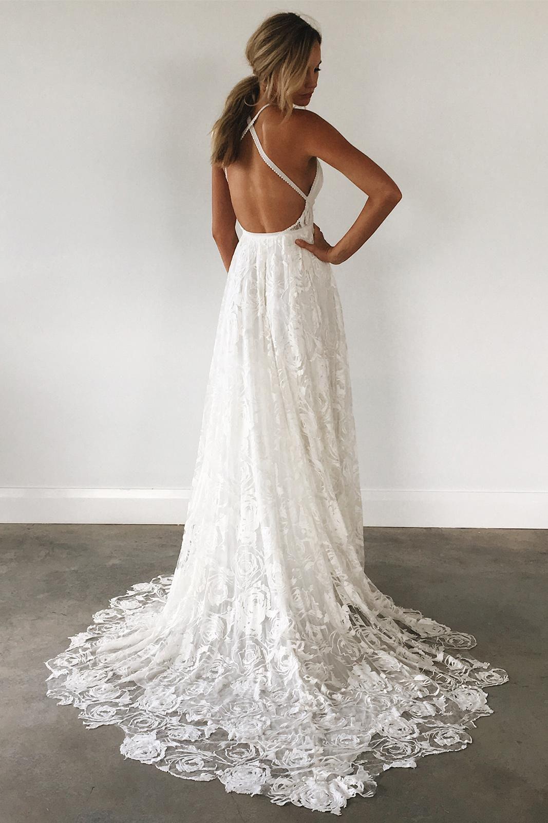 A Line Straps White Lace Long Wedding Dress With Criss Cross Back Boho Wedding Dress Lace Lace Beach Wedding Dress Ivory Wedding Dress