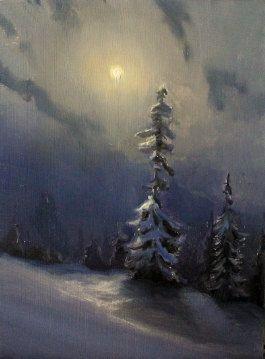 original landscape painting night snow by devinrobertsstudio, $150.00