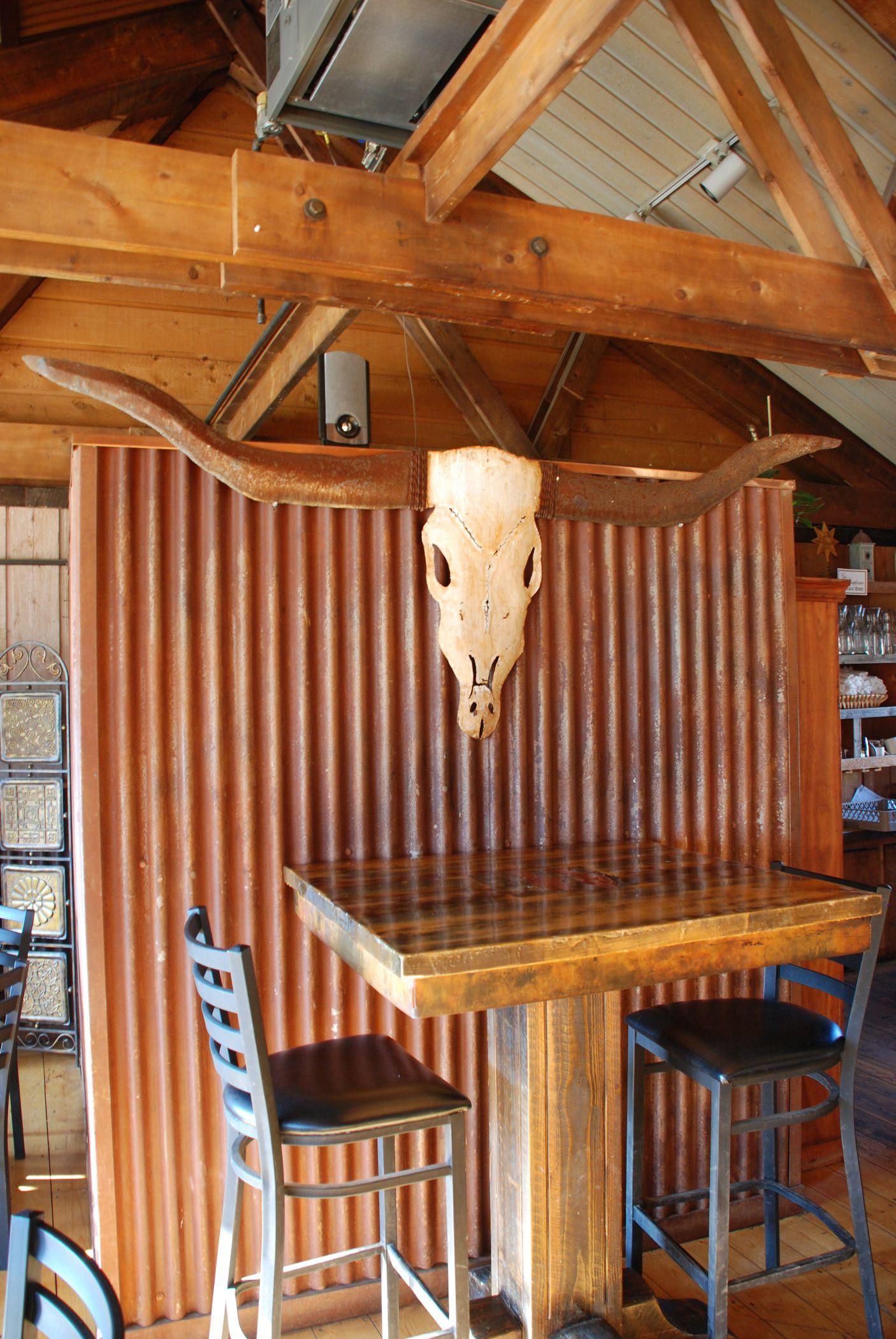 Rustic Accent Inside Restaurant Corrugated Metal Wall Corrugated Metal Simple Bathroom Decor