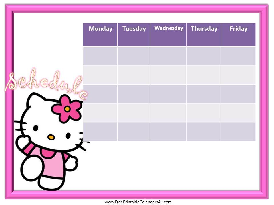 Hello Kitty Weekly Calendar Template Free | Weekly Calendar For