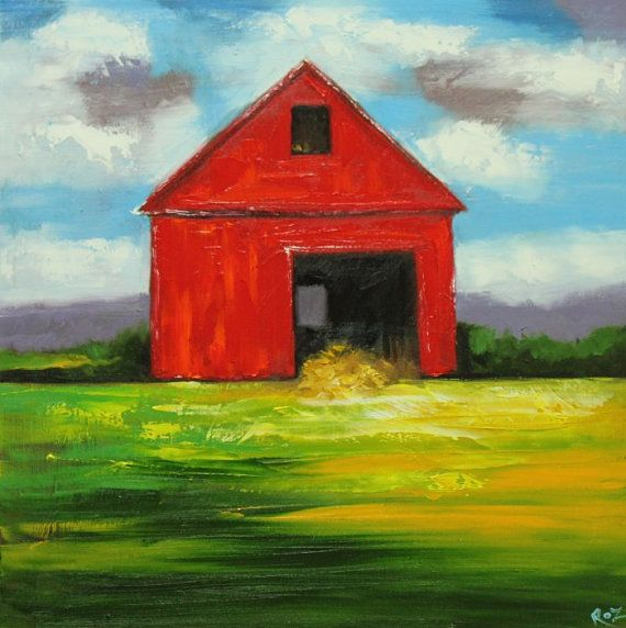 Landscape painting 259 24x24 inch red barn original oil painting by Roz
