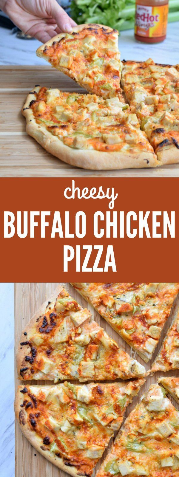 Cheesy Buffalo Chicken Pizza #buffalochickennachos