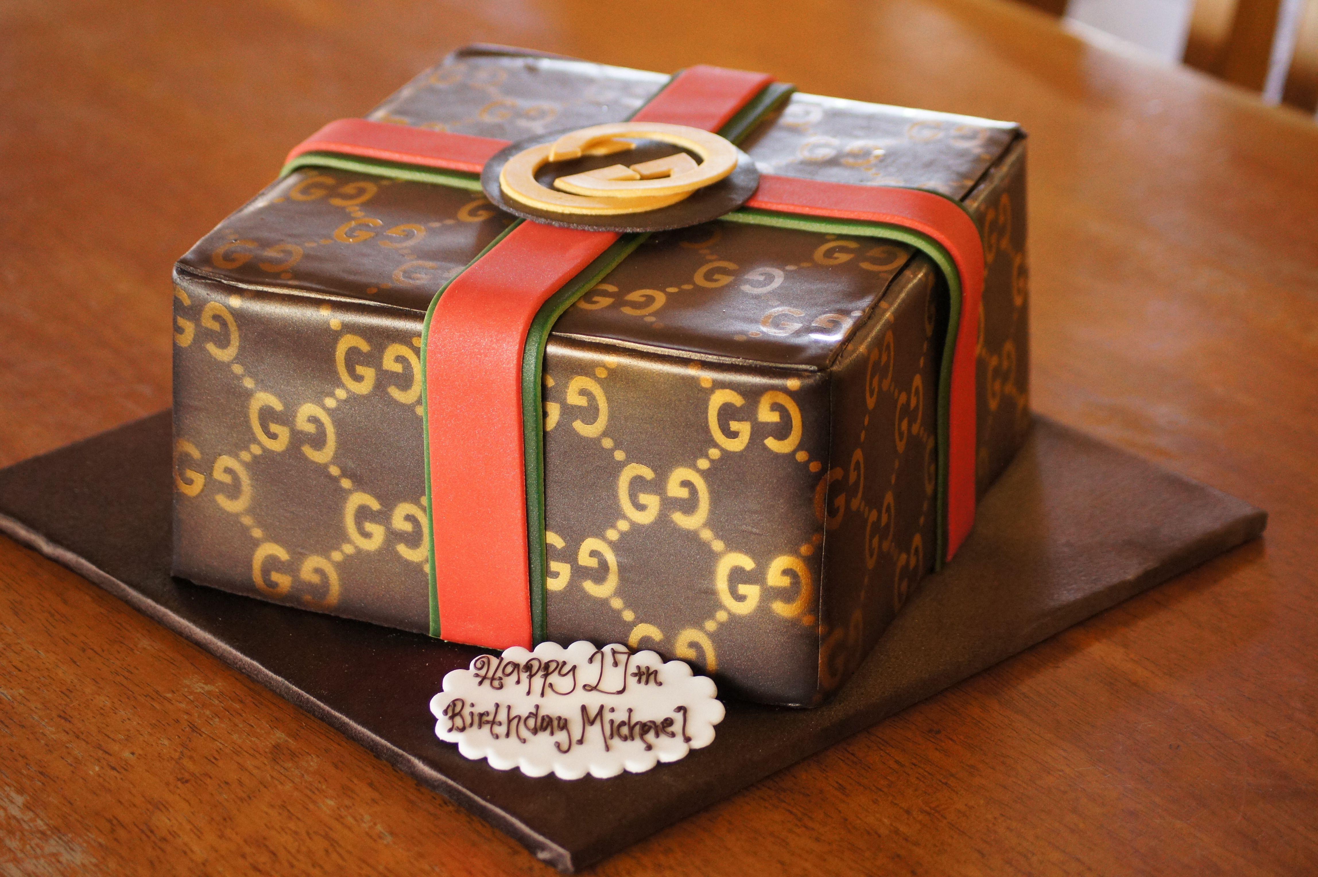Gucci gift box birthday cake