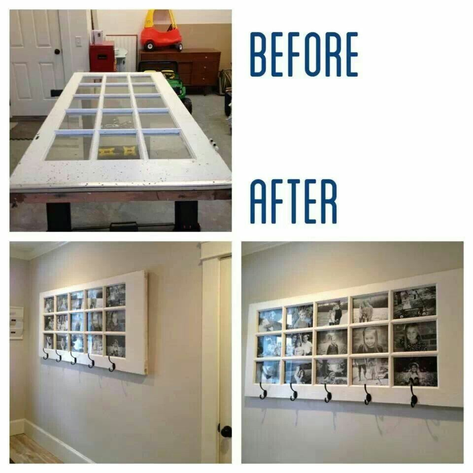 Turn a door into a photo frame collage and coat rack!