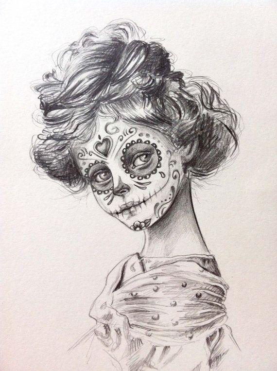 Day Of The Dead Sugar Skull Girl Original Drawing Illustration