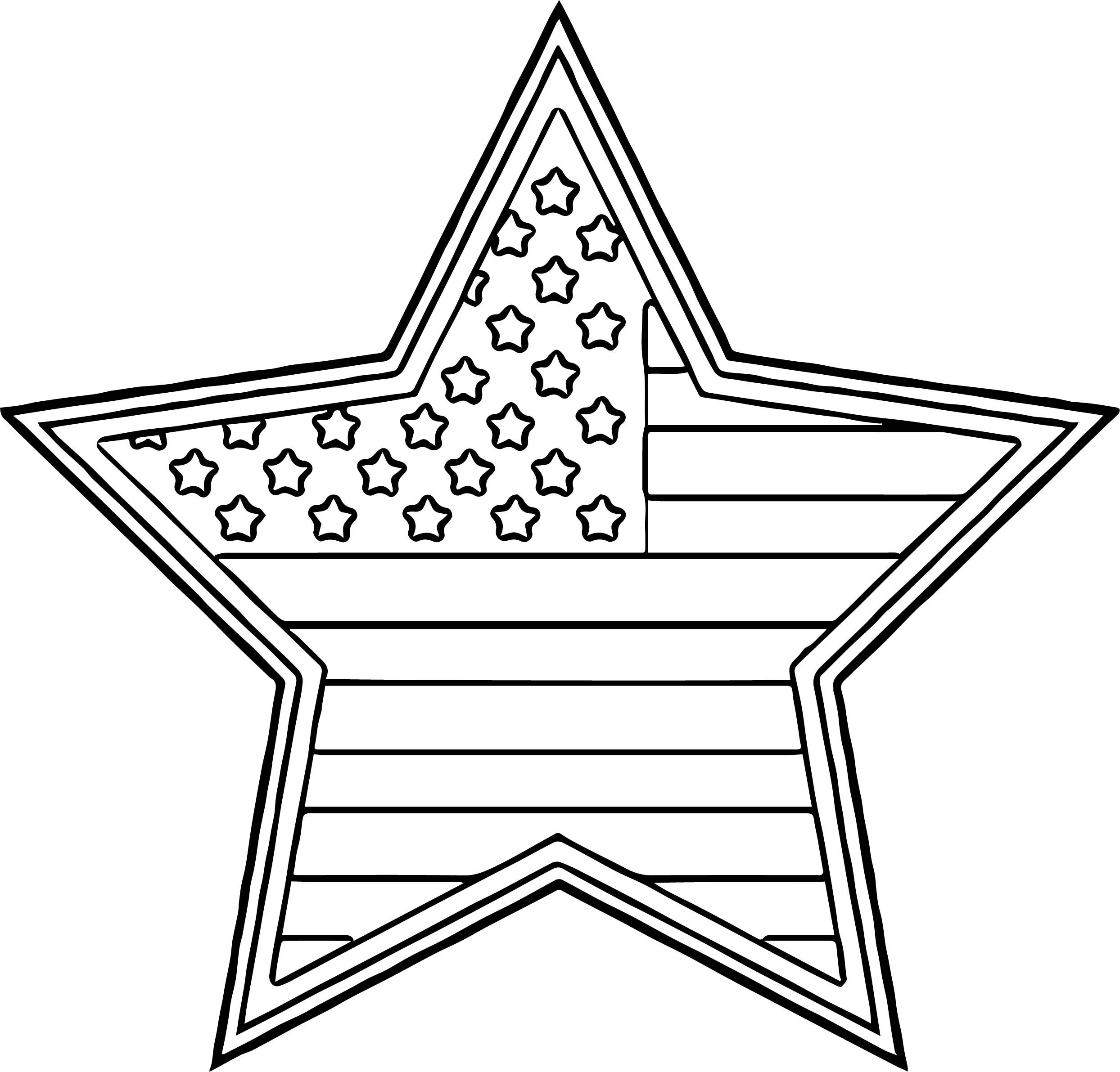 Nice American Flag Star Coloring Page