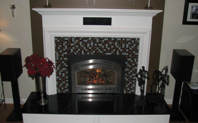 Gas Insert With Custom Tile Work And Custom Mantel This