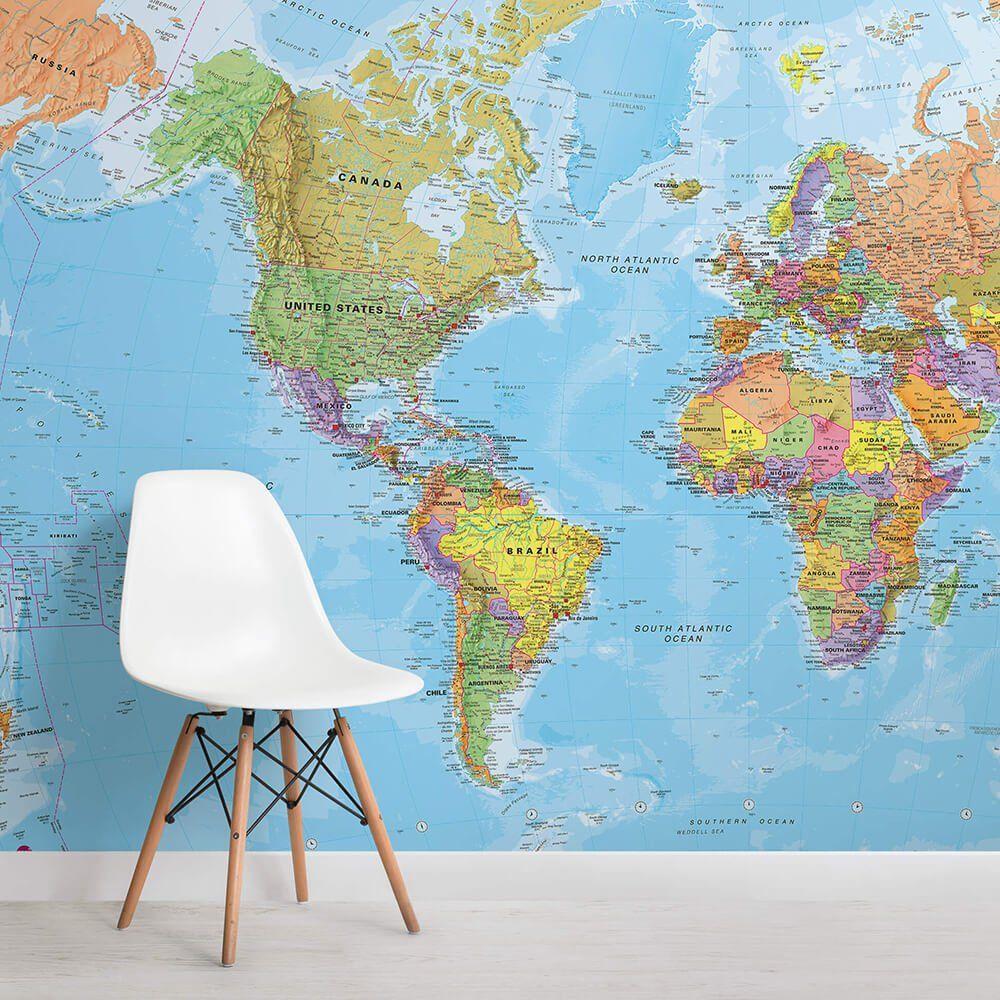 Political World Map Wallpaper Mural #worldmapmural