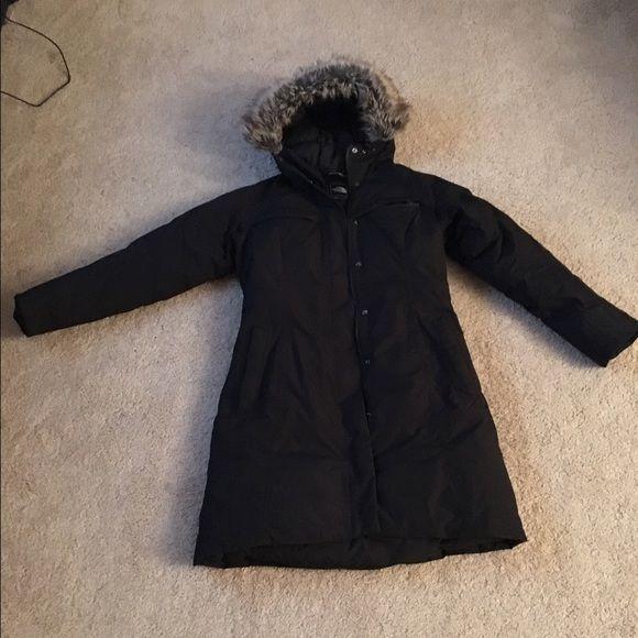 North face arctic parka black fur