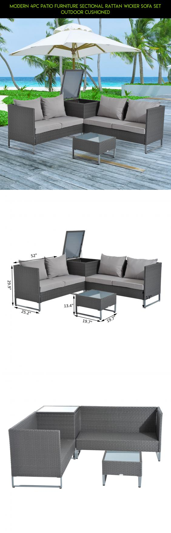Modern 4pc Patio Furniture Sectional Rattan Wicker Sofa Set Outdoor  Cushioned #shopping #technology #