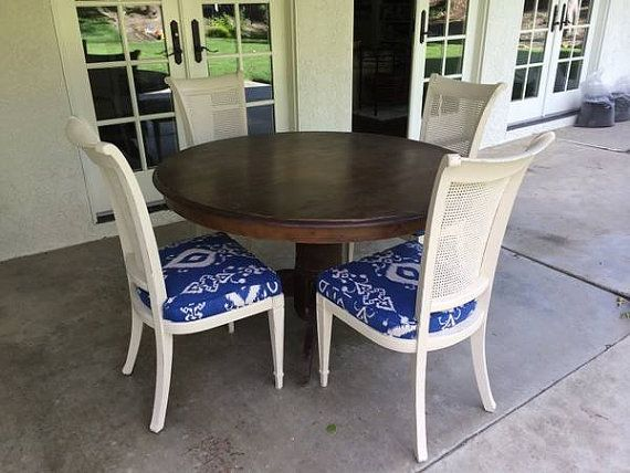 Four Cane Back Dining Chairs Blue And White Ikat