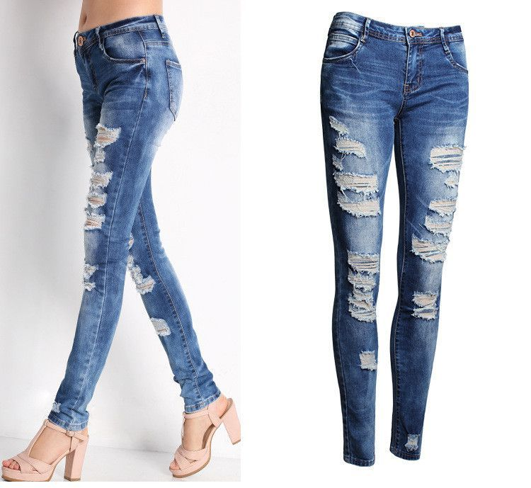 Ladies Cotton Denim Pants Stretch Womens Bleach Ripped Skinny ...