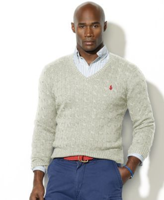 a41f04c214 Polo Ralph Lauren Big and Tall Sweater, Cable Knit Silk V Neck ...