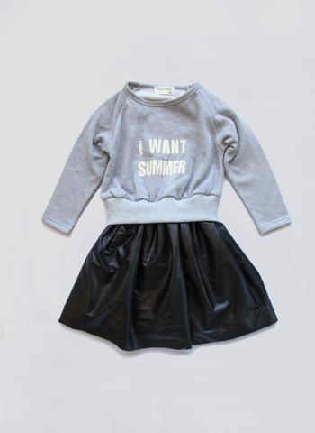Vierra Rose Cadence Sweatshirt Dress in Grey/Faux Leather- PRE-ORDER