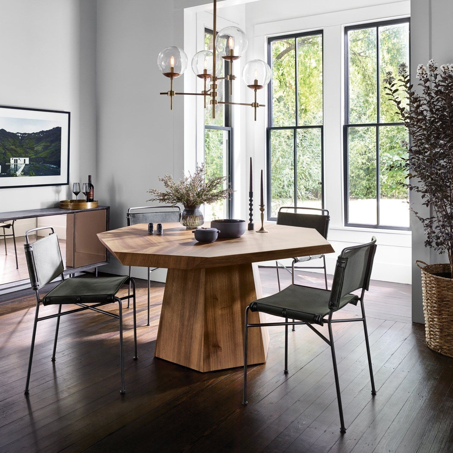 Wharton Dining Chairwaxed Black Distressed Black Faux Leather Scandinavian Dining Room Minimalist Dining Room Modern Dining Table