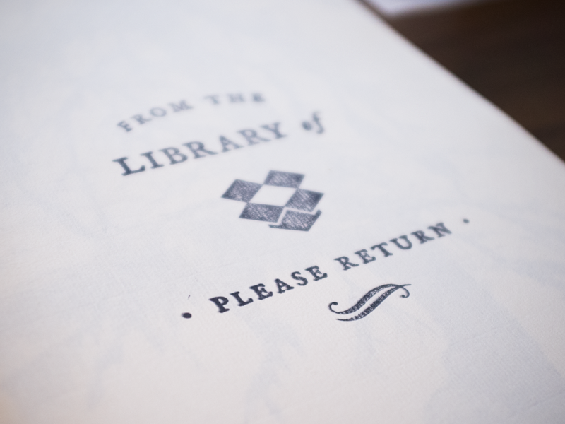 Dropbox library book stamp