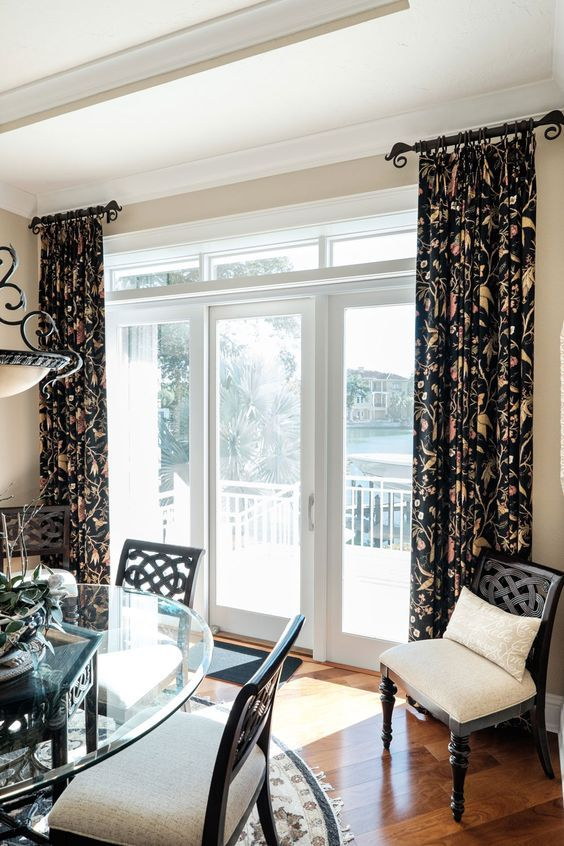 Breakfast Room Stationary Drapery Panels And Wrought Iron